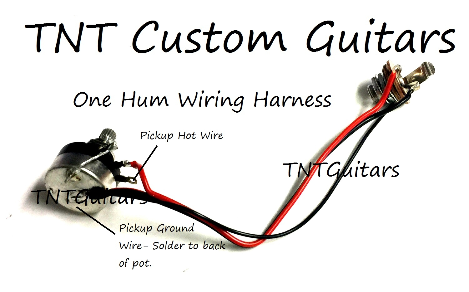 1007onehumsealedharnesswirepic 1v one pickup wiring harness ~ sealed pot ~ 1 volume prewired harness Custom Wire Harness Sleeves at eliteediting.co