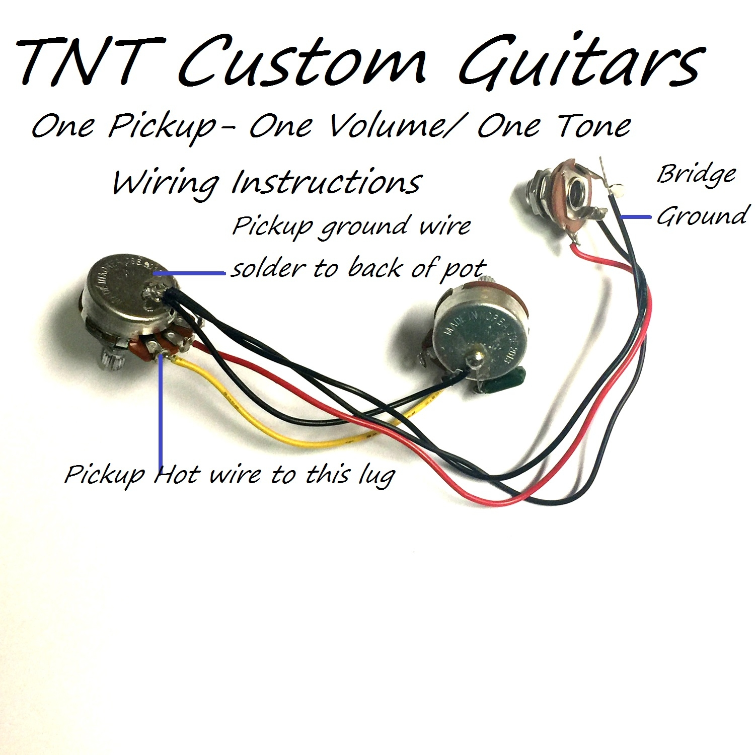 One Humbucker Wiring Harness For Sale Car Diagrams Explained Epiphone 1 Tone Volume Guitar Diagram 1v1t Pickup Standard Vol Prewired Rh Dragonfireguitars Com Single Coil