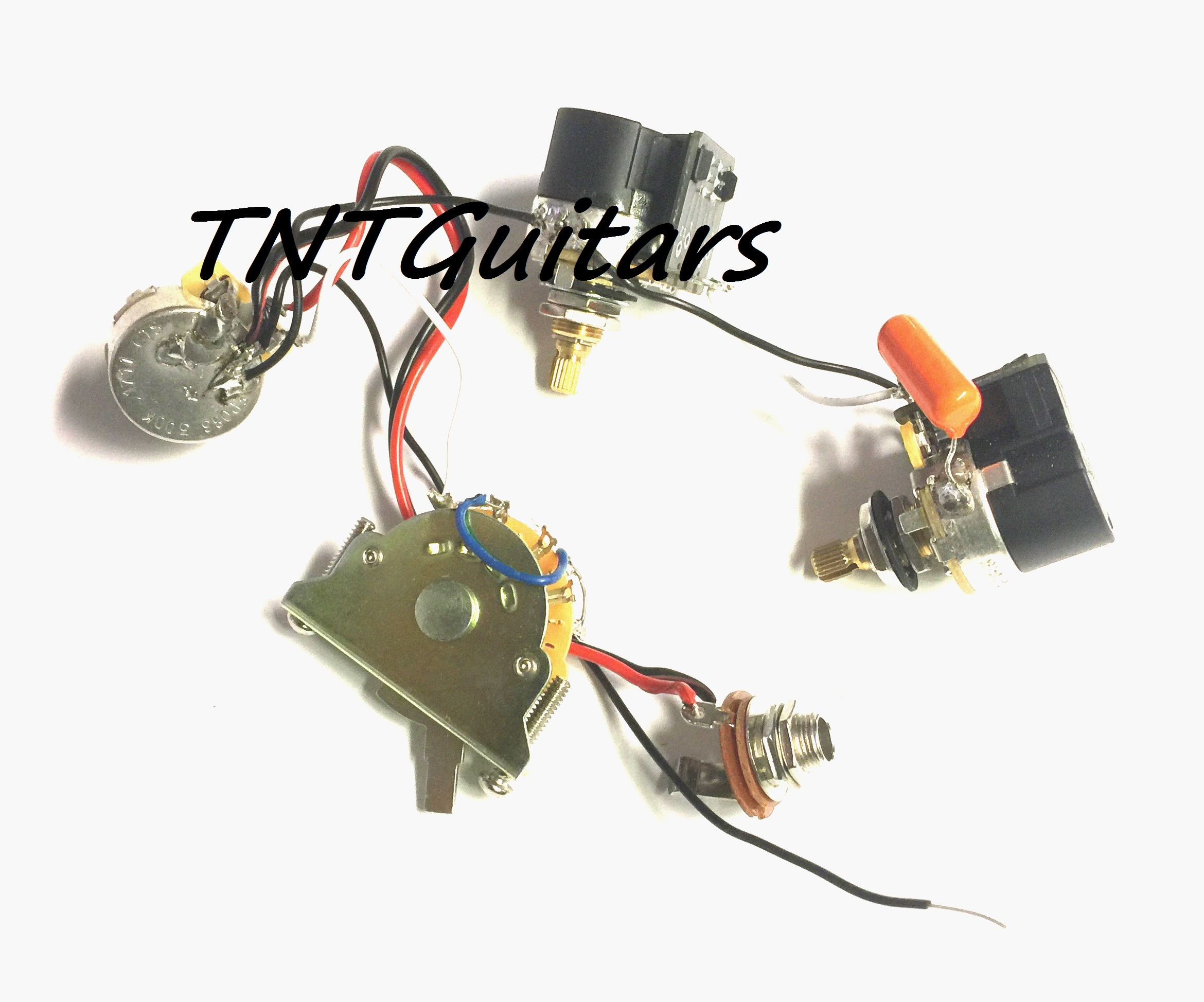 1v2t Prewired Harness 2 Pickup Cts Push Pull Dual Coil Cut Wiring Volume Tone Jack 3 500k Pots 5 Way Switch For Fender