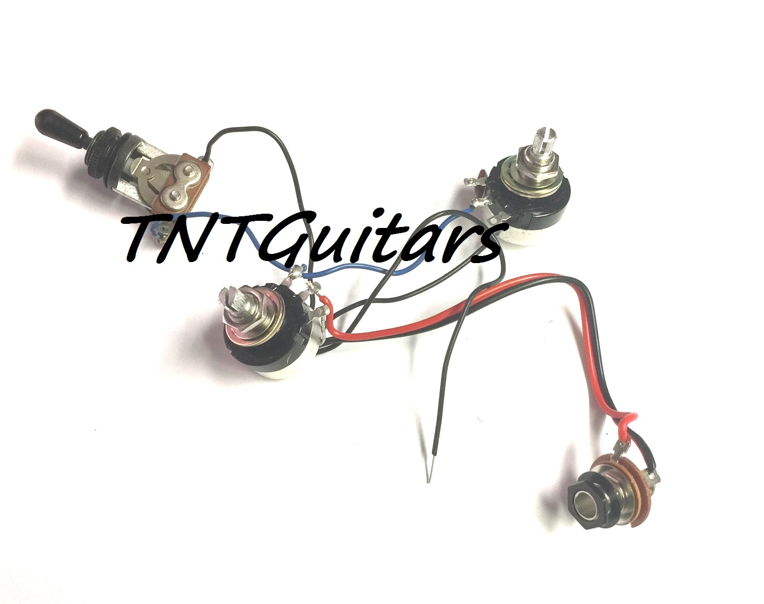 1v1t Prewired Harness 2 Pickup W Sealed Pots 3 Way Toggle Switch Guitar Wiring Volume Tone 3way Jack